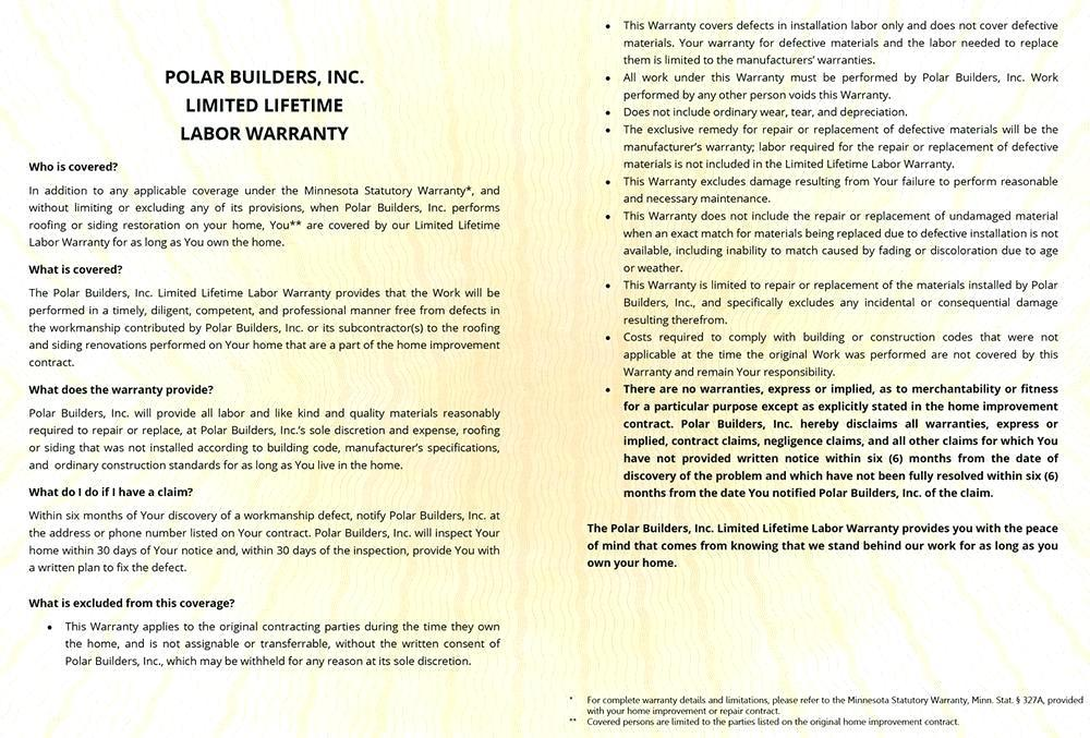 Construction Warranty Form Template