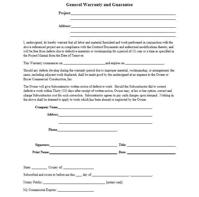 Construction Warranty Form