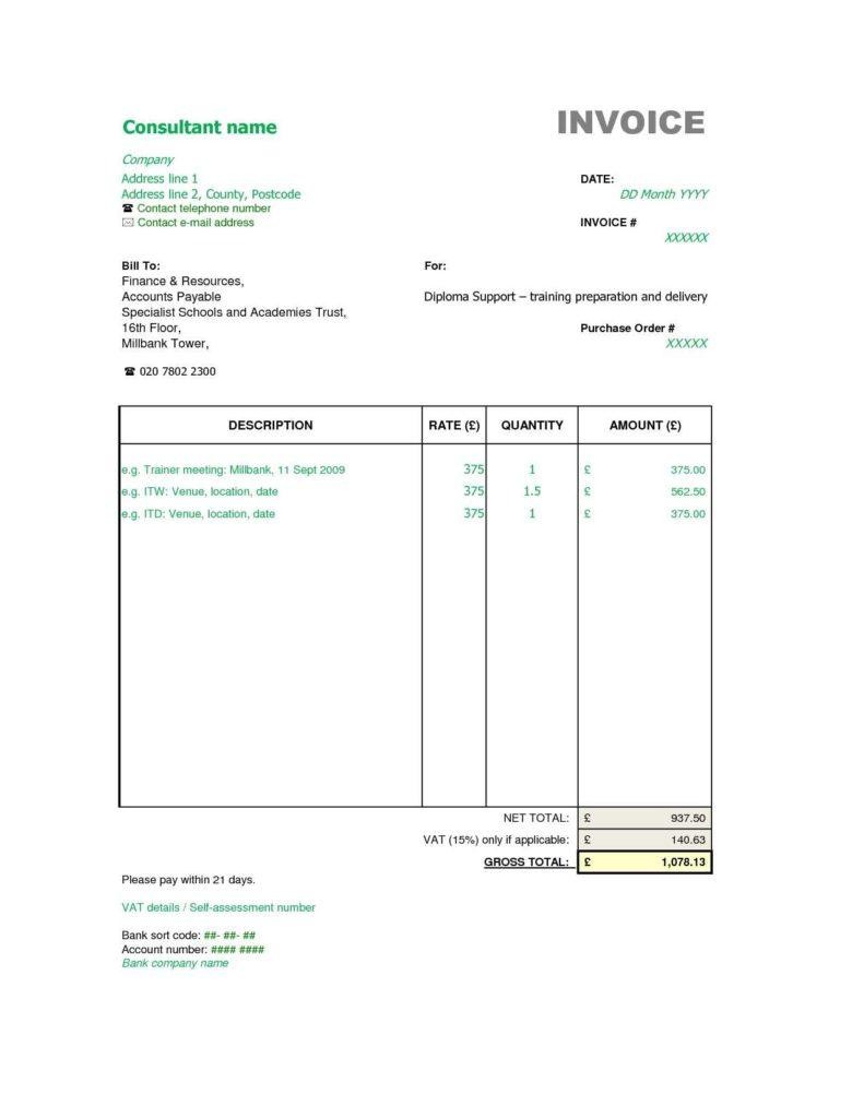 Consultant Monthly Invoice Template