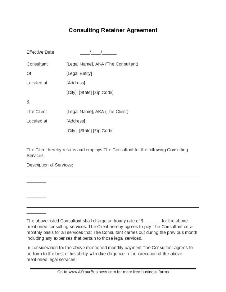 Consultant Retainer Agreement Template