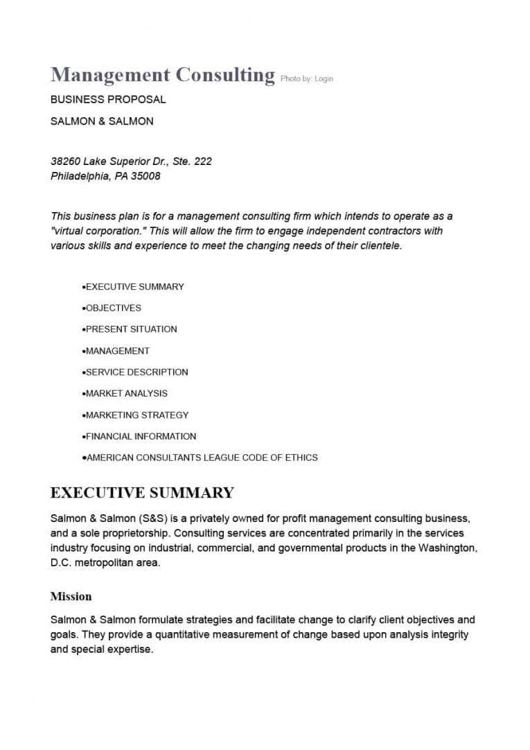Consulting Services Proposal Template Free
