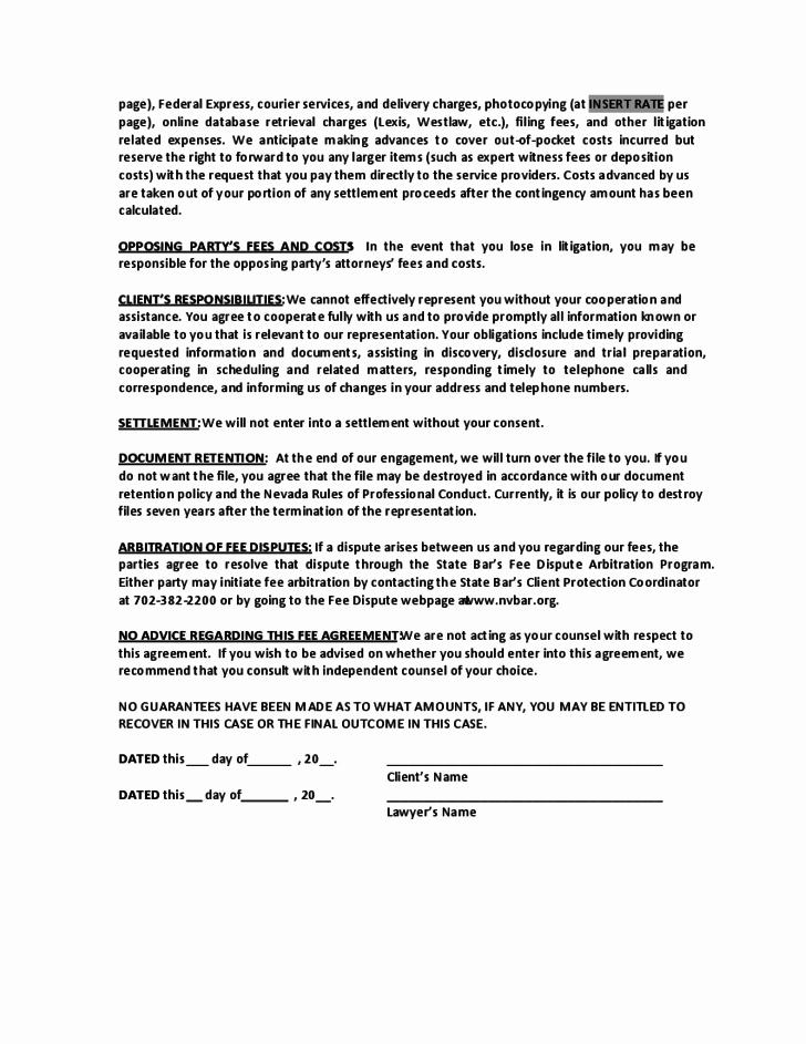 Contingency Agreement Form