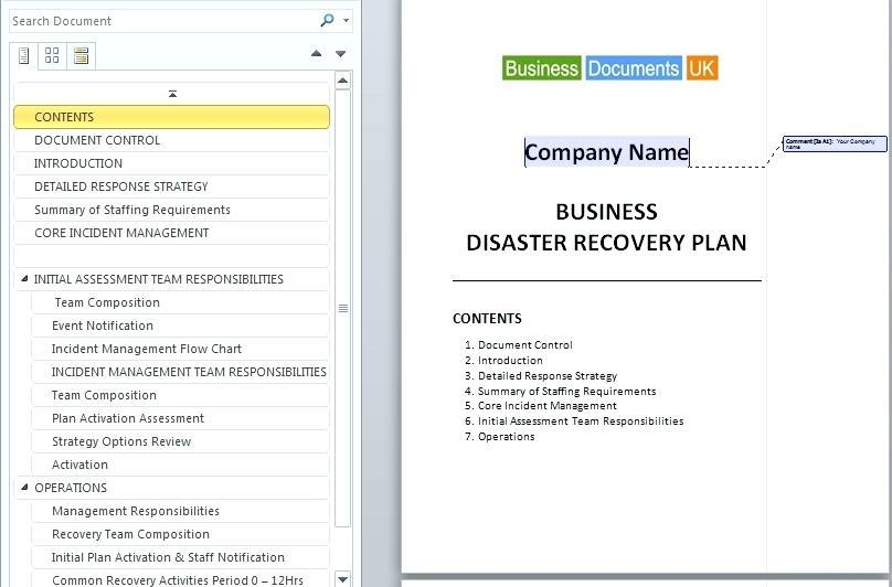 Continuity Of Operations Plan Template And Instructions