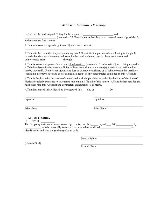 Continuous Marriage Affidavit Template Florida