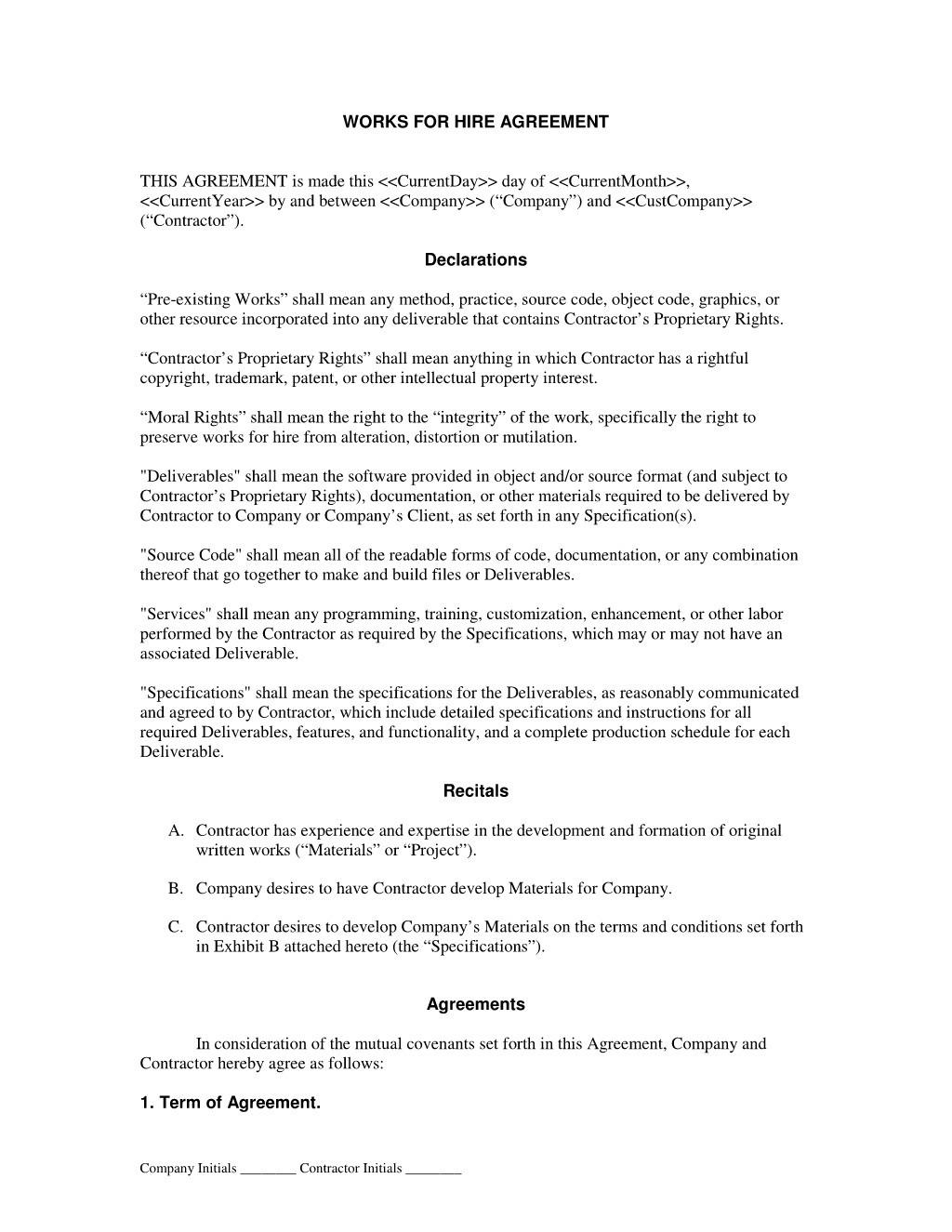 Contract For Hire Template