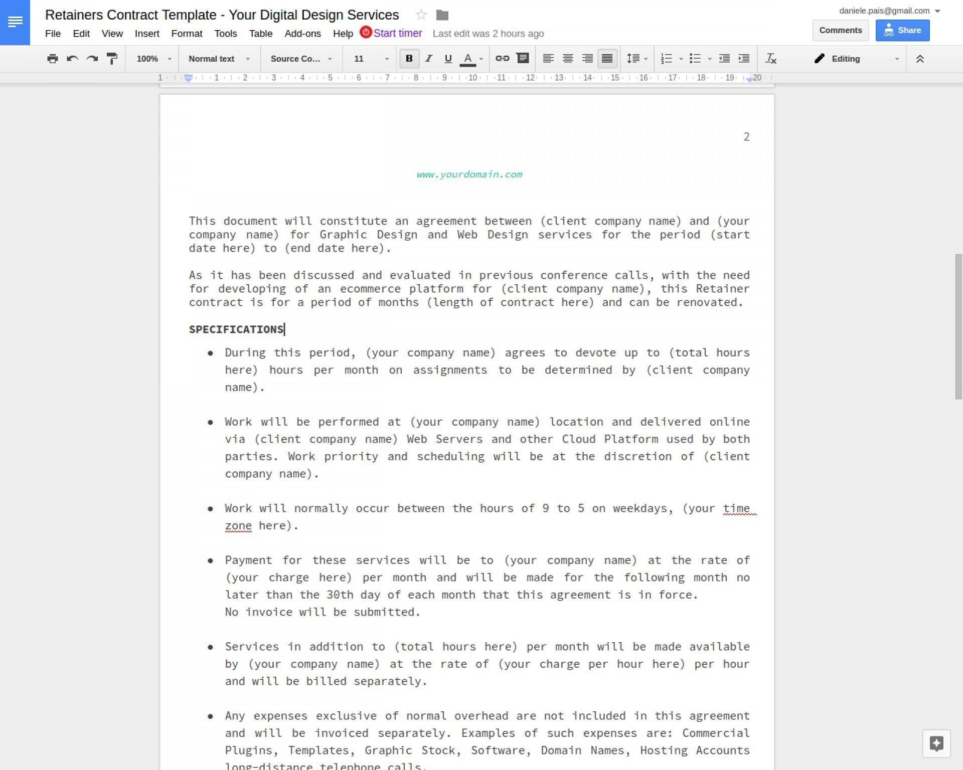 Contract Format Google Docs