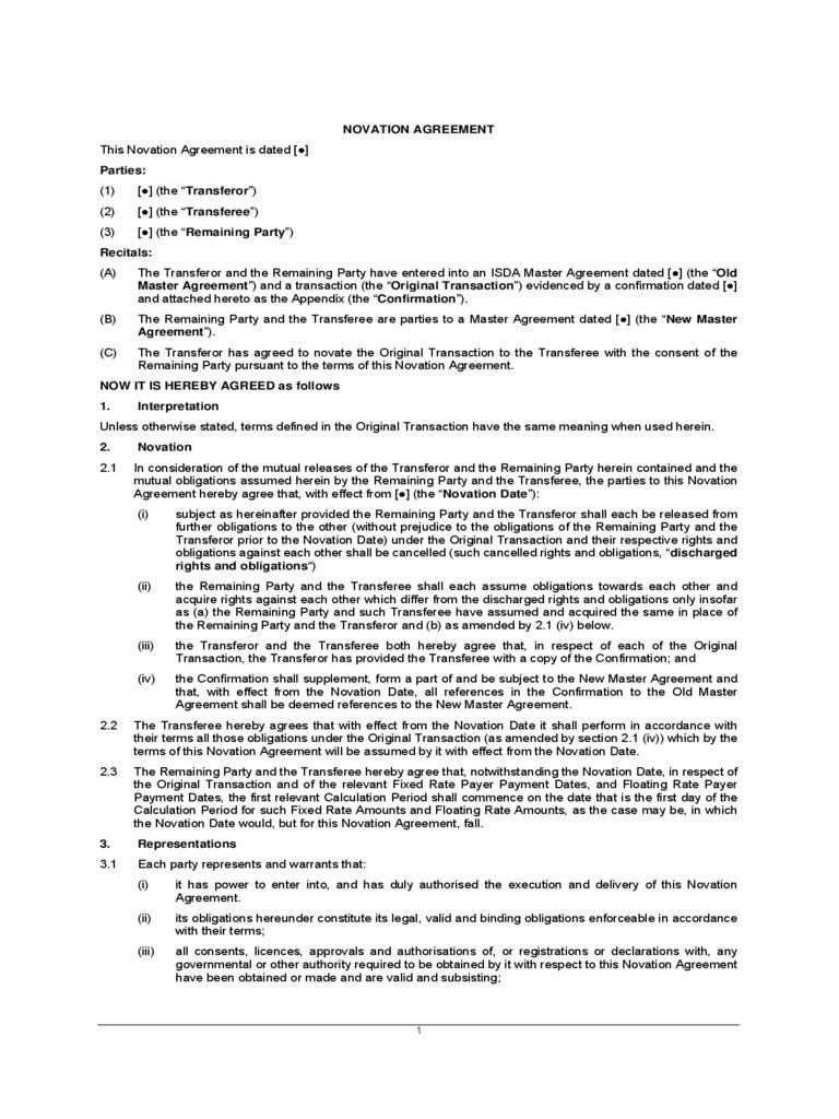 Contract Novation Templates