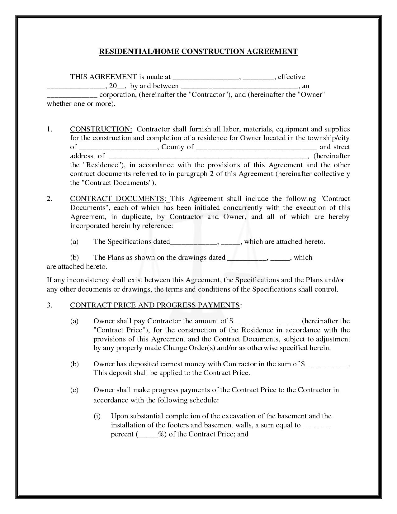 Contract Template For General Contractors