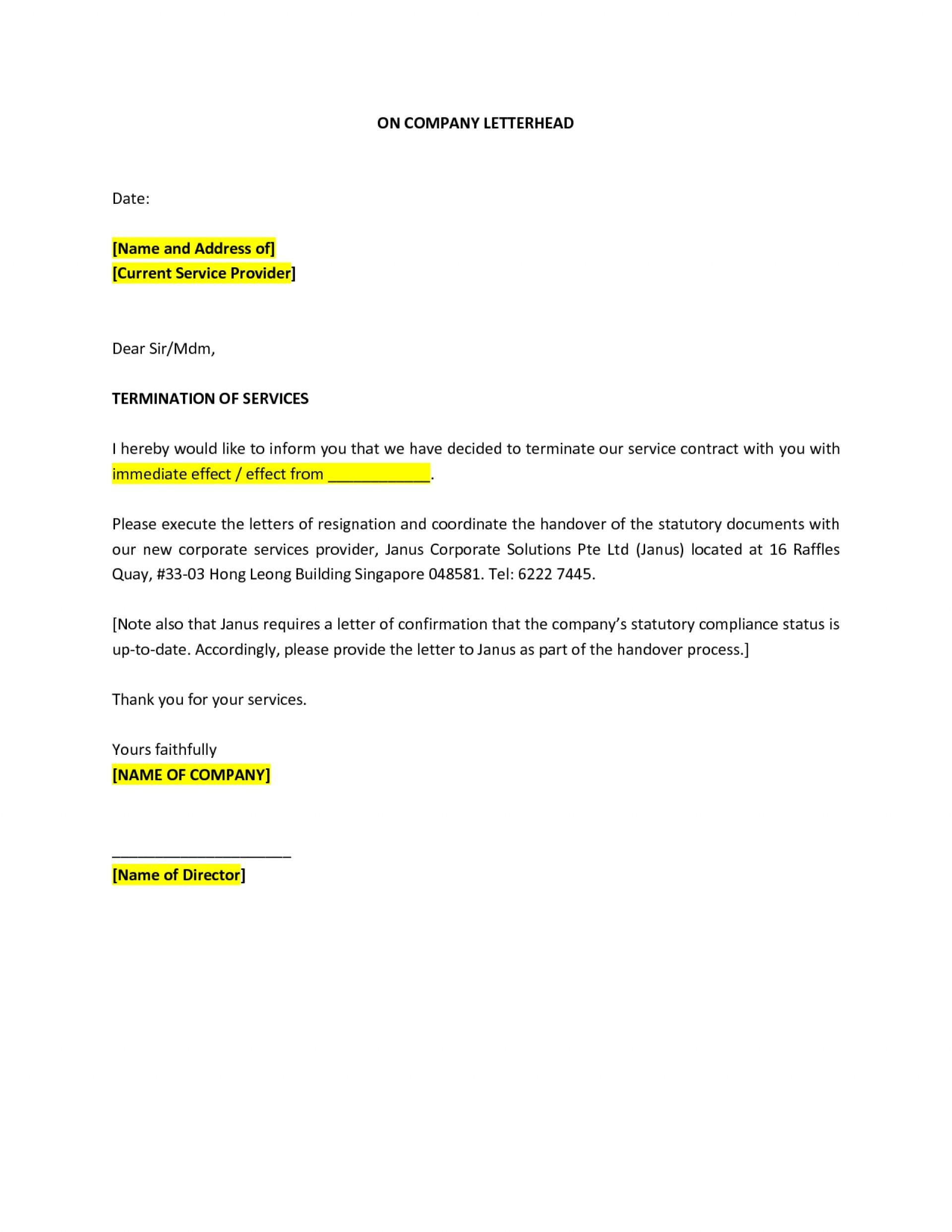 Contract Termination Template Uk
