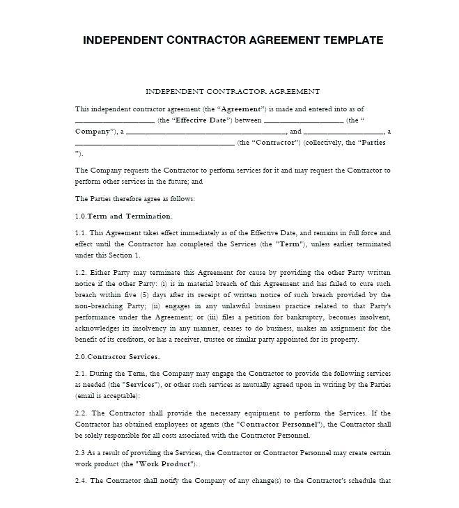 Contracting Agreement Template Nz