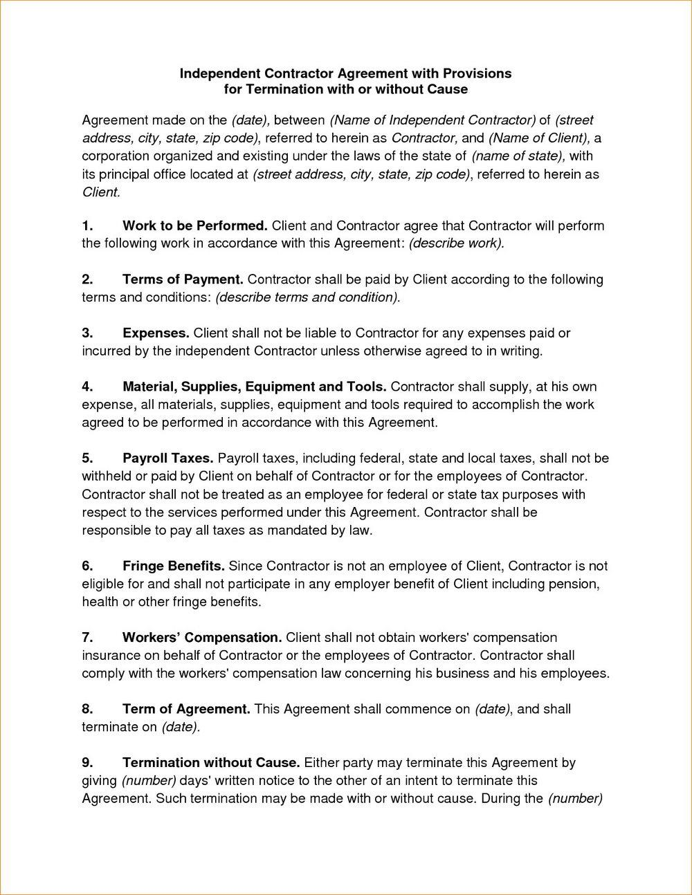 Contractor Agreement Template Nz