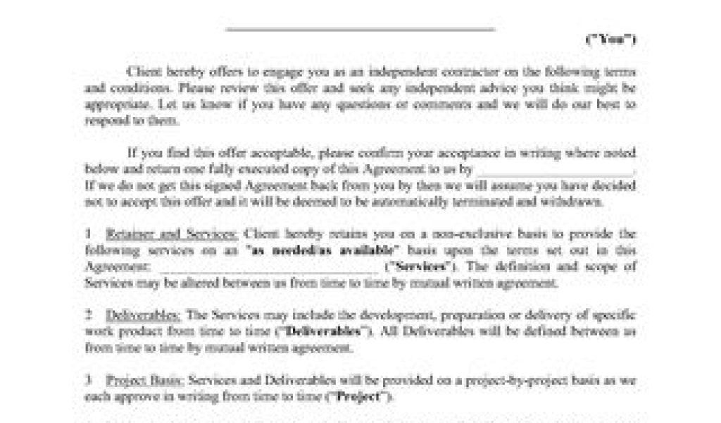 Contractor Agreement Template Ontario