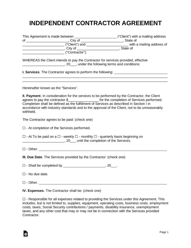 Contractor Agreement Template Pdf