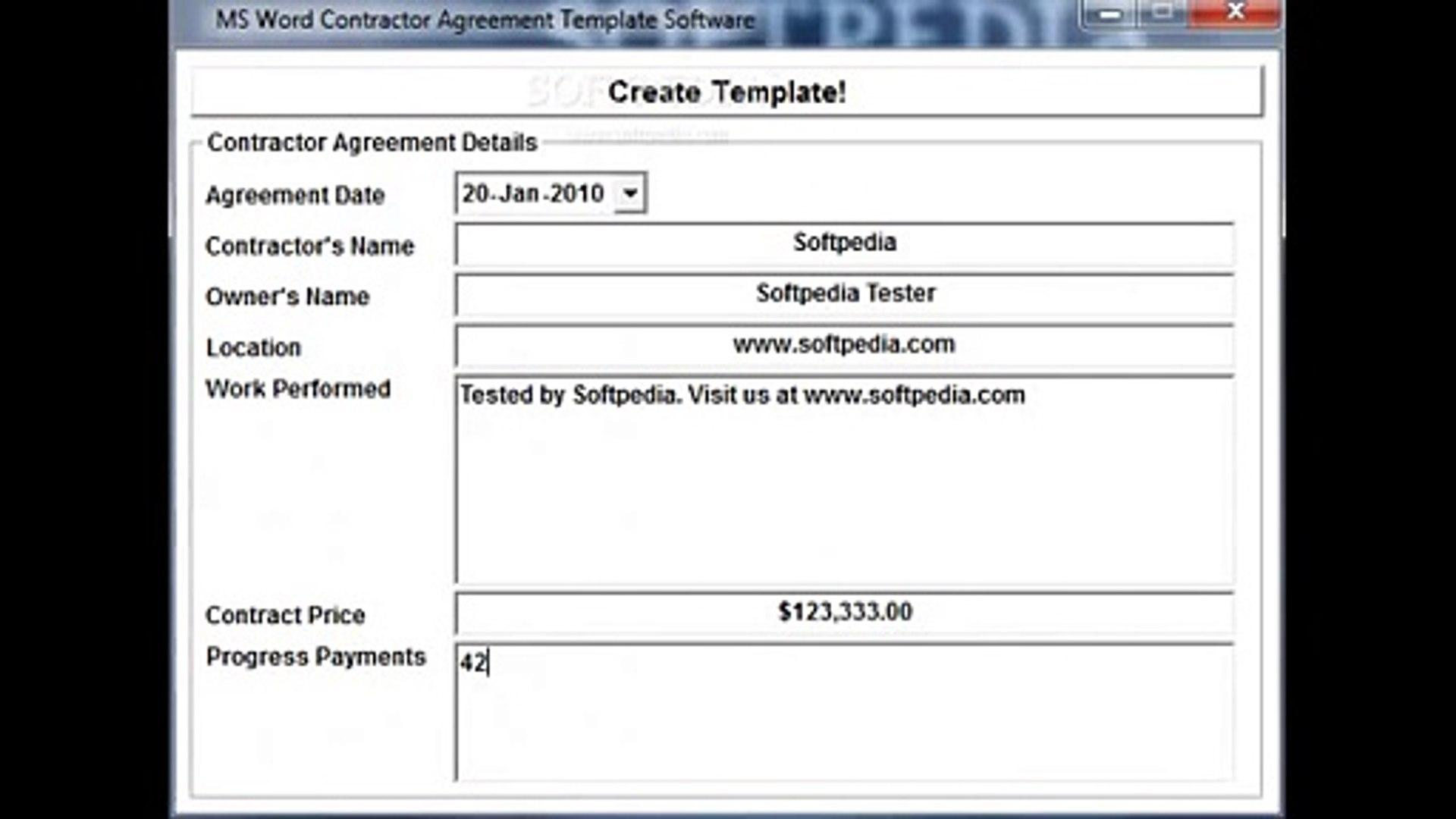 Contractor Agreement Template Software