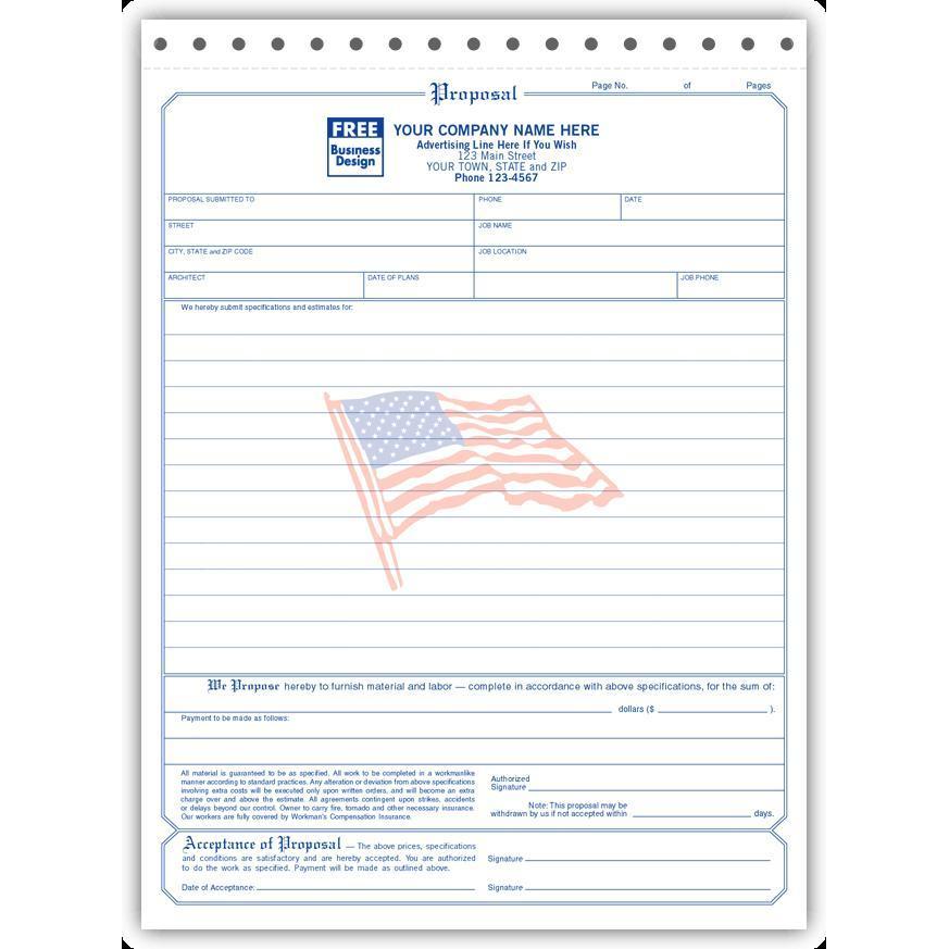 Contractor Bid Proposal Forms