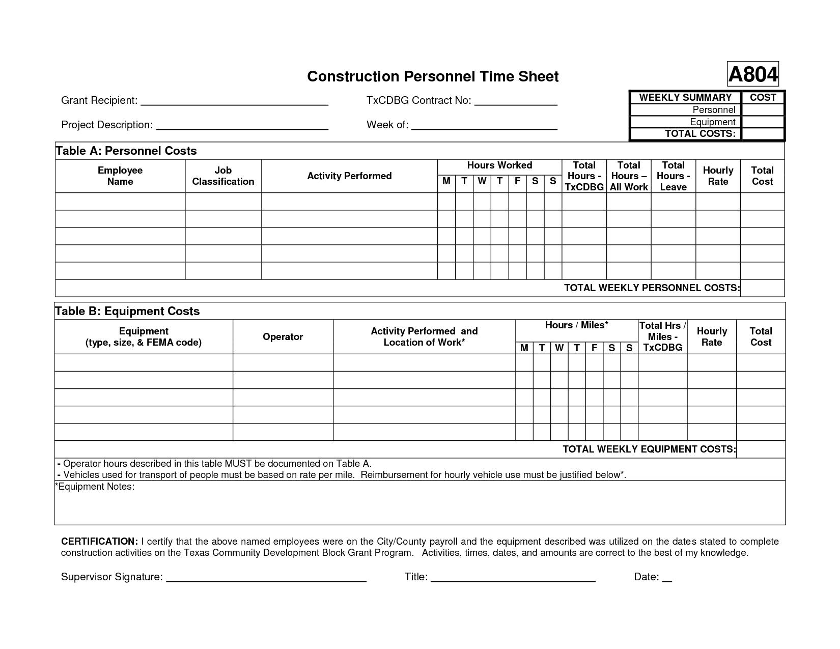 Contractor Daily Timesheet Template