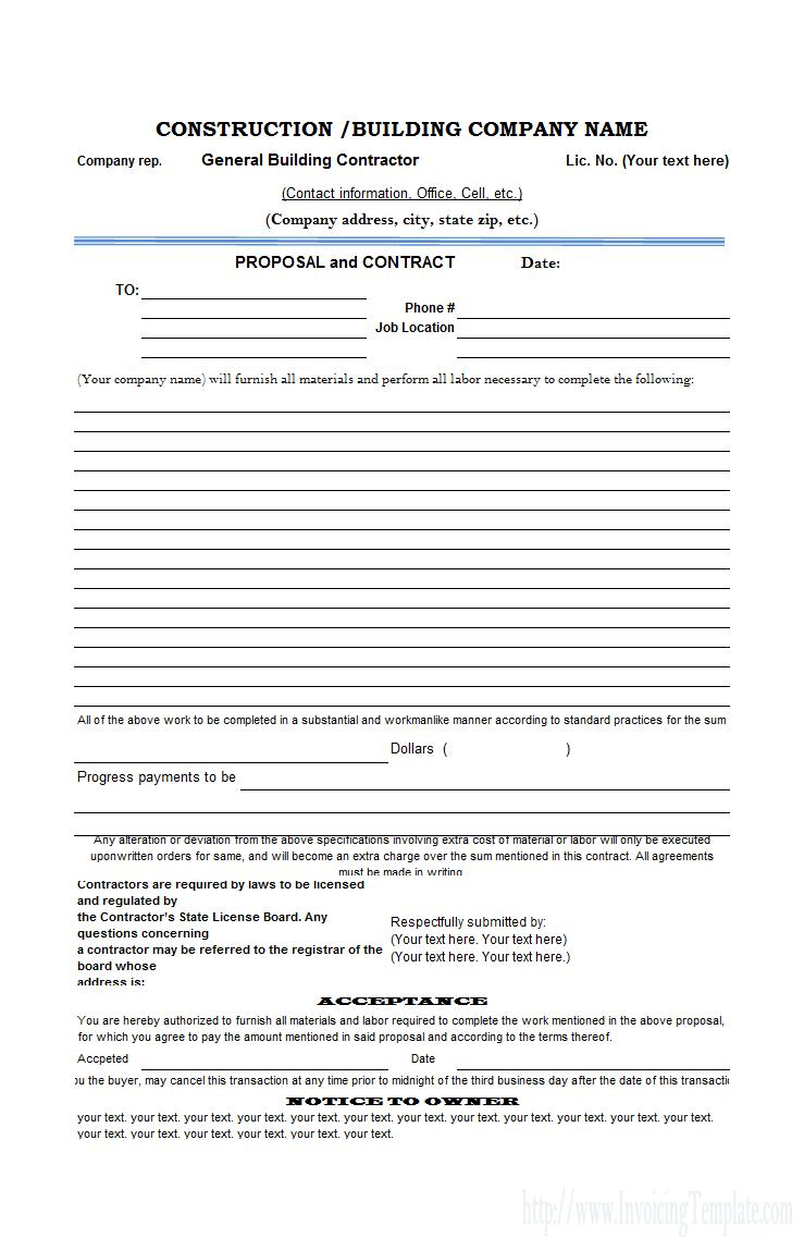 Contractor Estimate Proposal Template