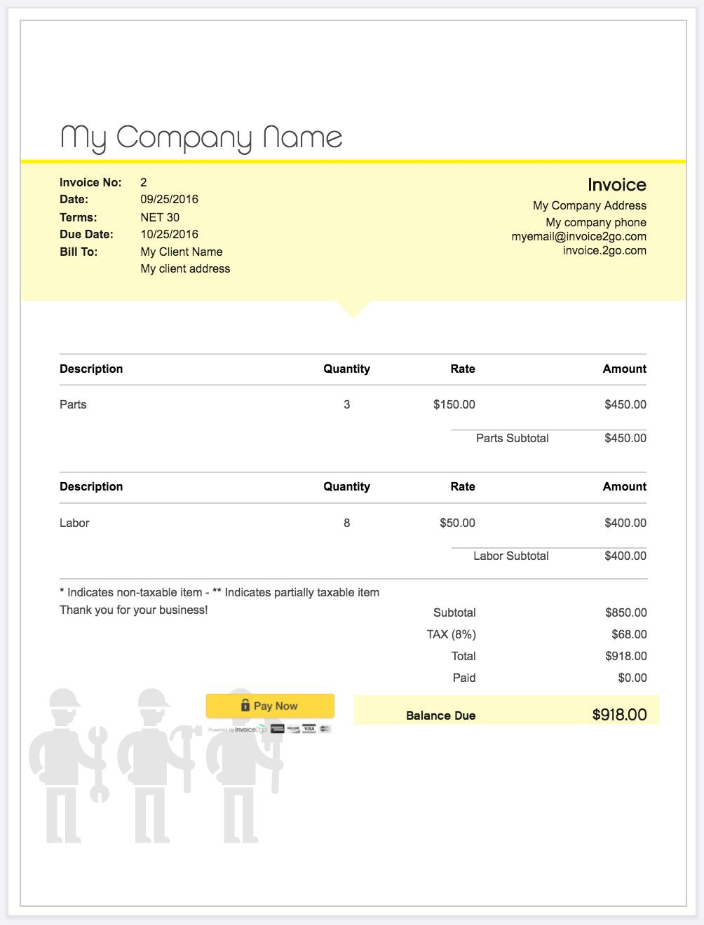 Contractor Invoice Example Nz