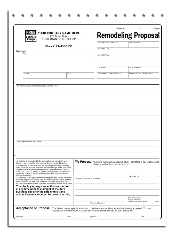 Contractor Job Proposal Template Free