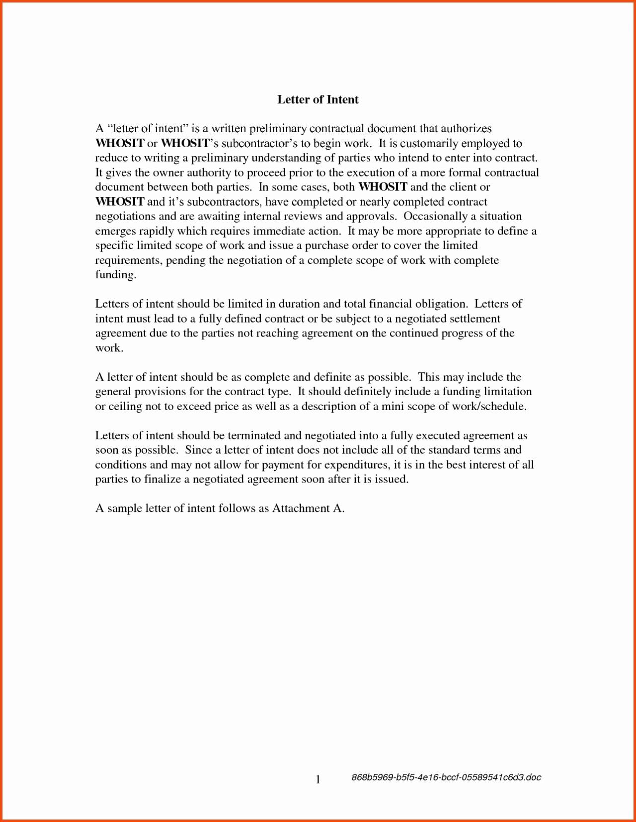 Contractor Letter Of Intent Template