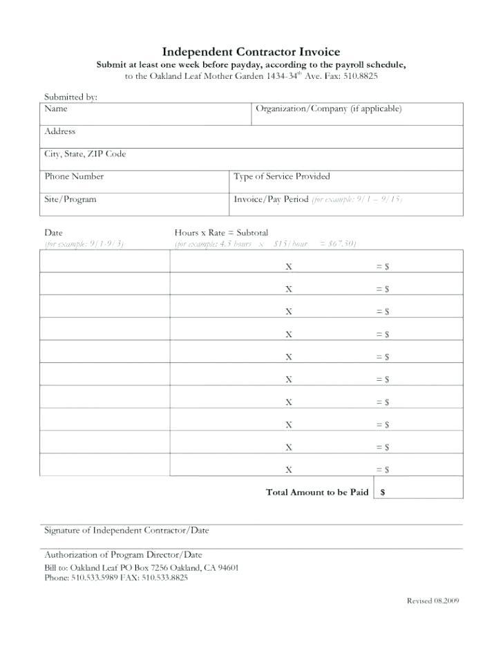 Contractor Monthly Invoice Template