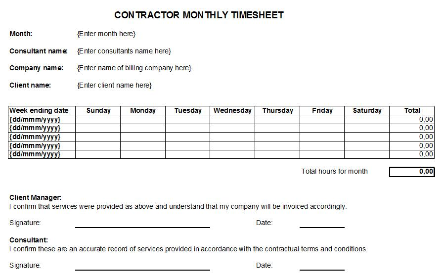 Contractor Monthly Timesheet Template
