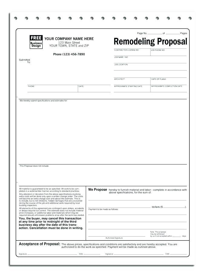 Contractor Project Proposal Template