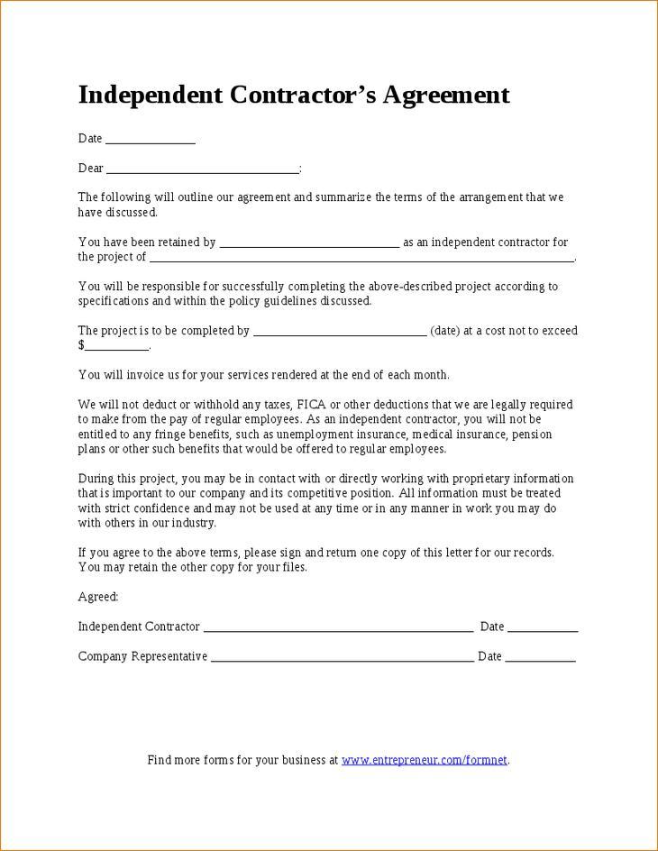 Contractors Agreement Form