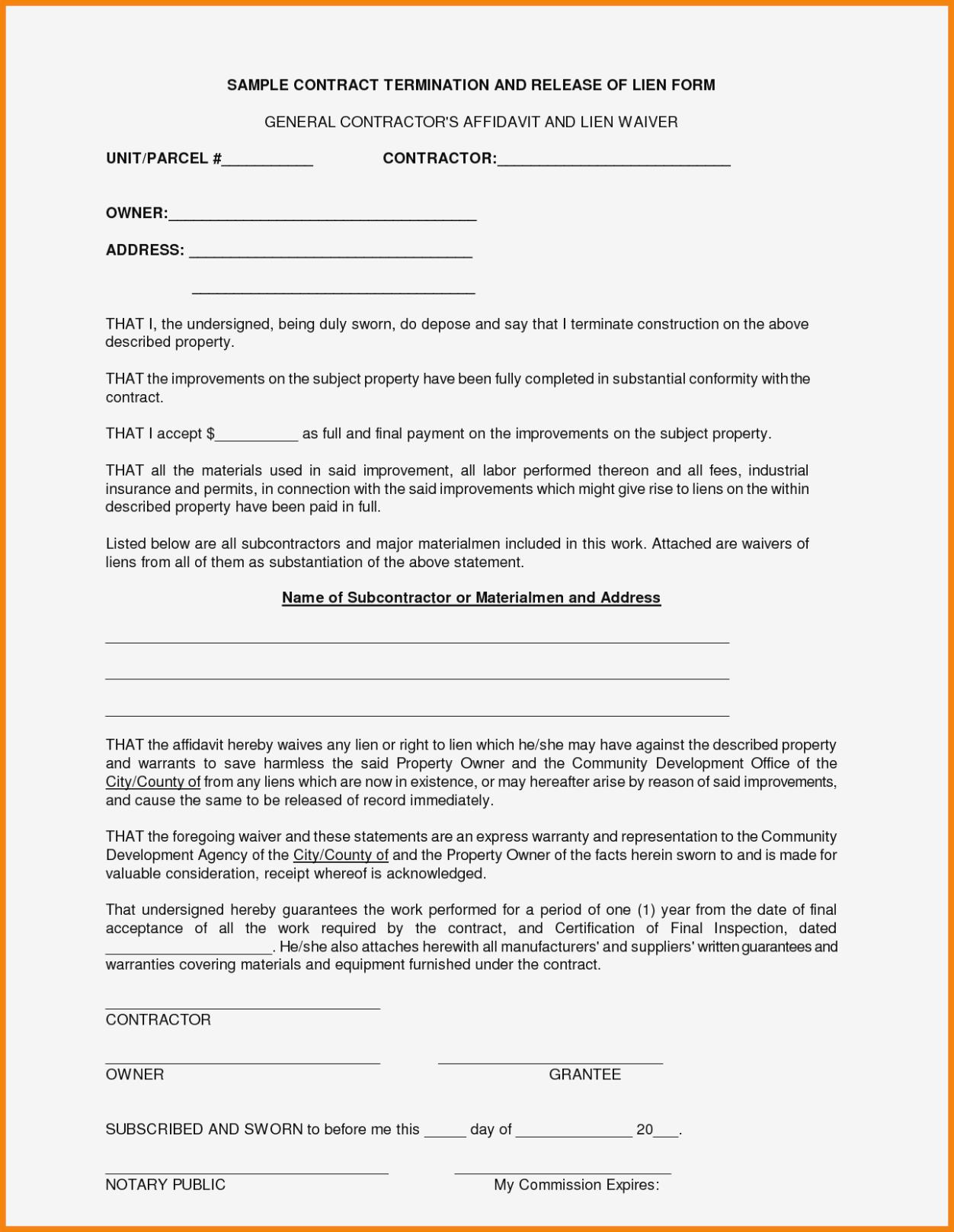 Contractors Contract Form