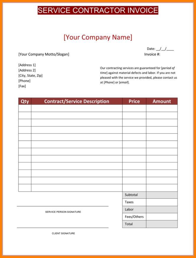 Contractors Invoice Templates