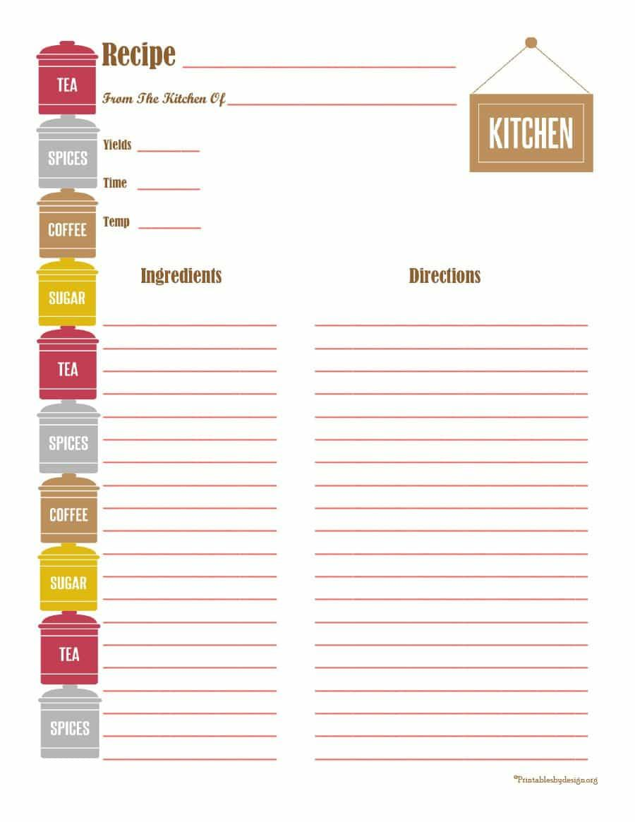 Cookbook Template Word