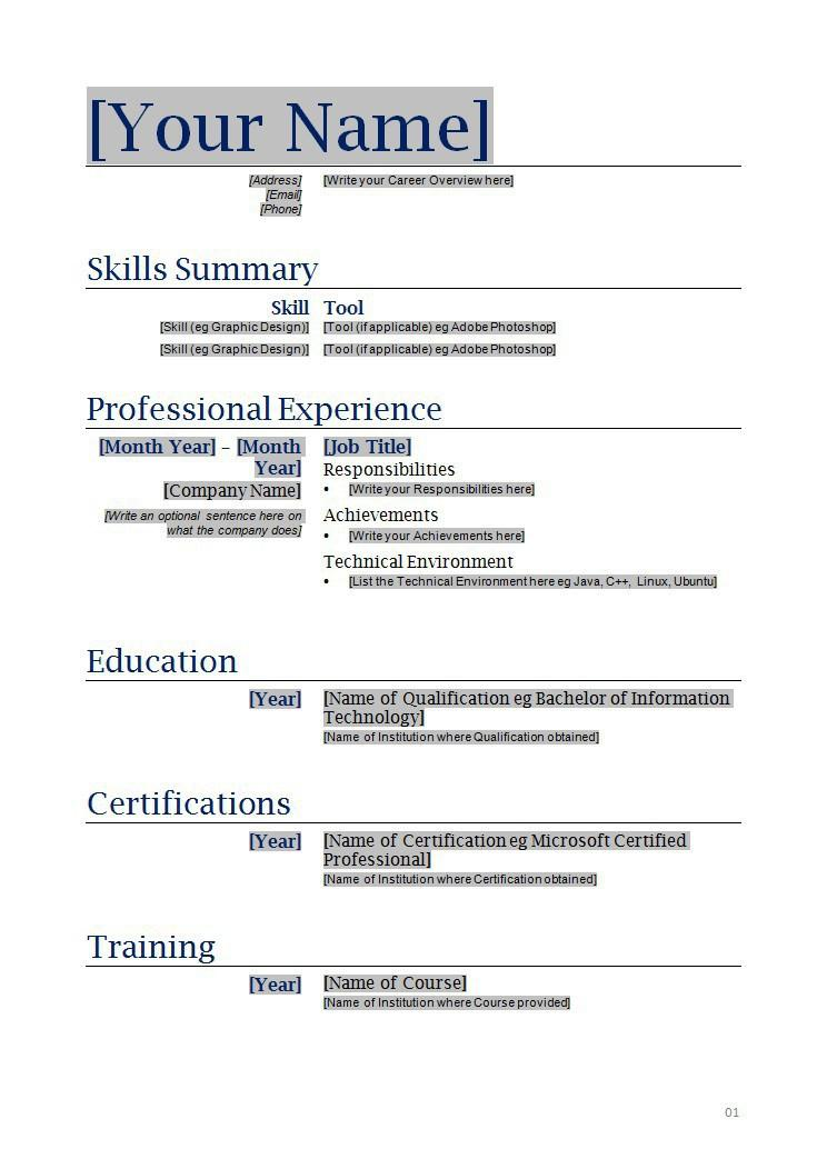 Copy And Paste Resume Format