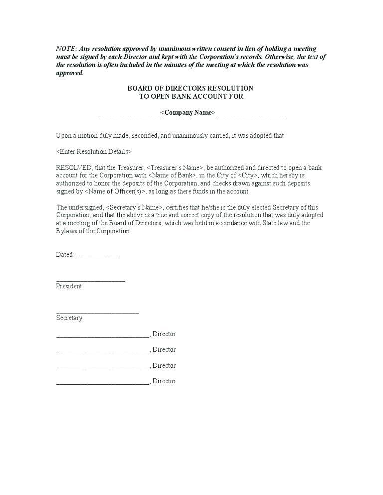 Corporate Board Resolution Format