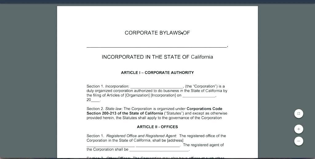 Corporate Bylaws Template California