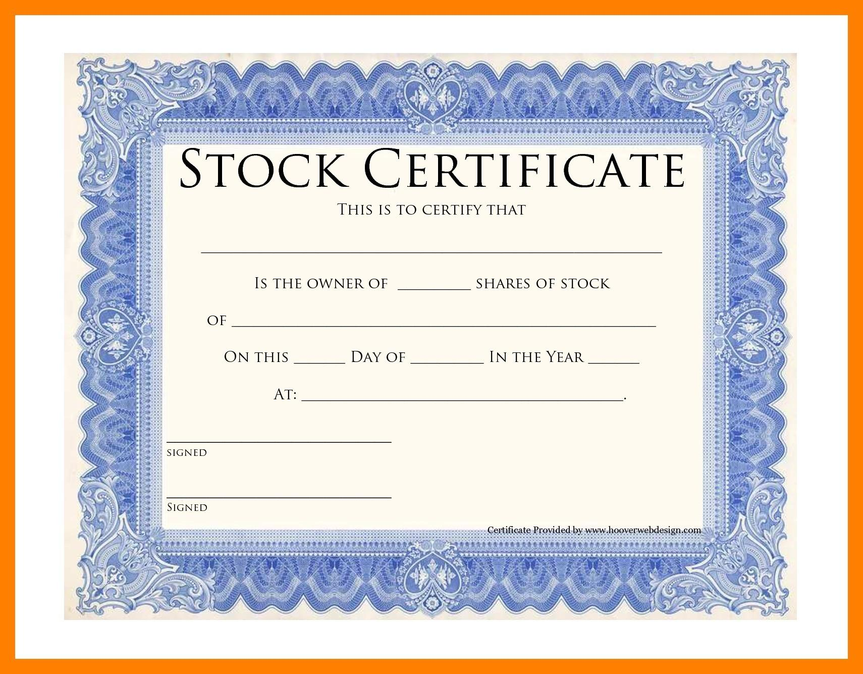 Corporate Stock Certificate Forms
