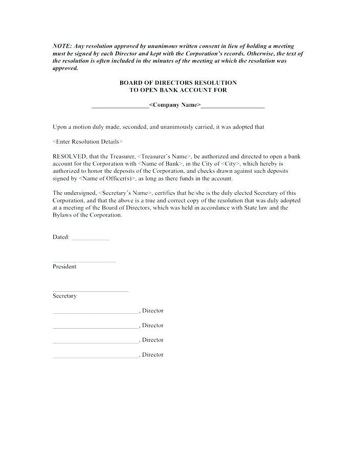Corporation Bank Board Resolution Format
