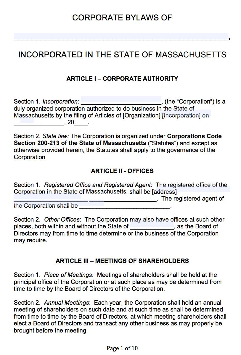 Corporation Bylaws Form