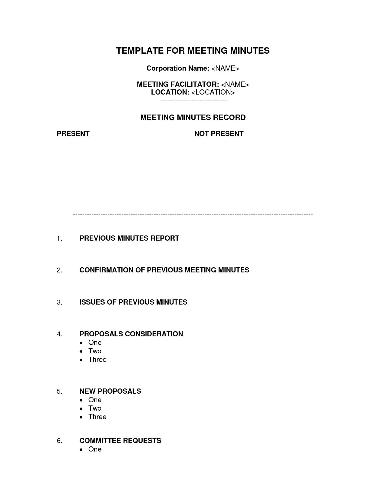 Corporation Meeting Minutes Template Word