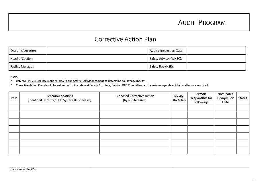 Corrective Action Plan Template Food Safety