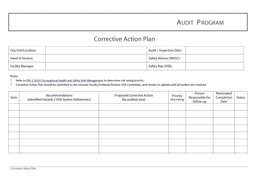 Corrective Action Plan Template For Audit