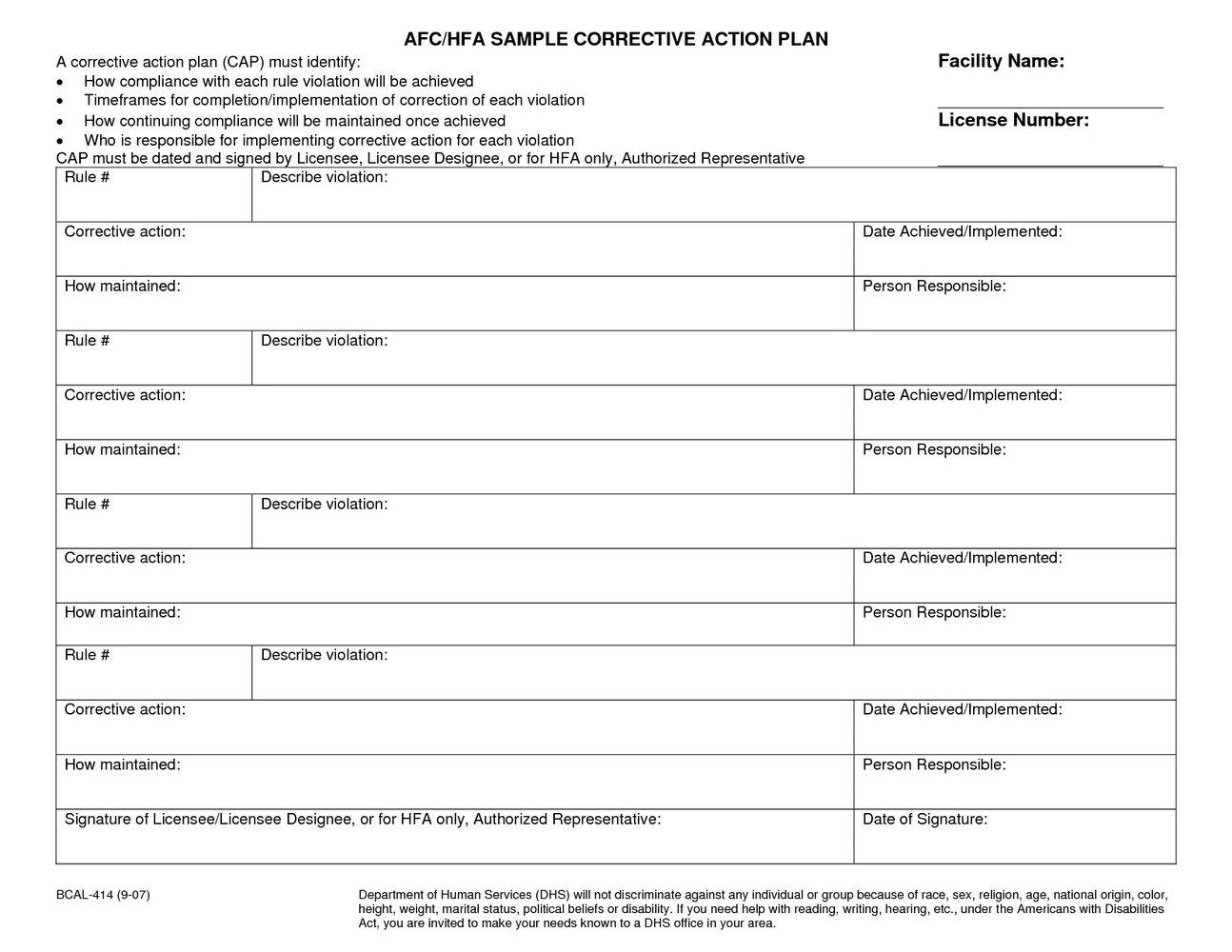 Corrective And Preventive Action Templates