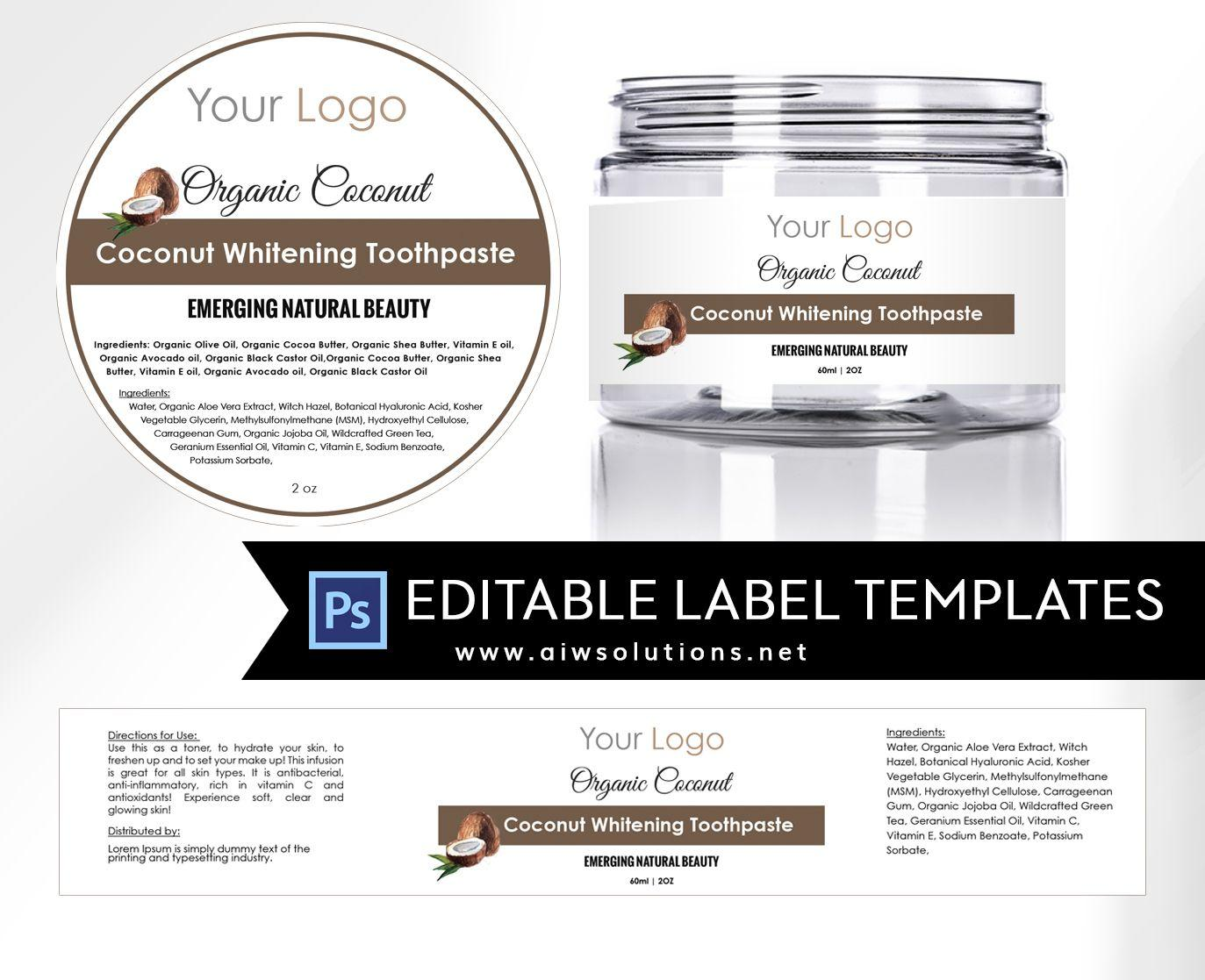 Cosmetic Ingredient Label Template