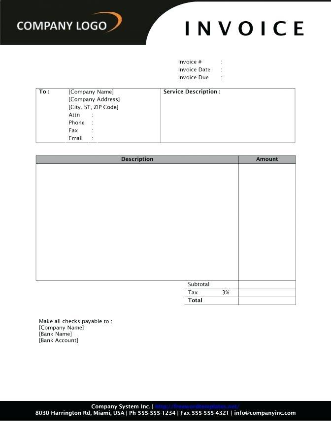 Courier Invoice Format Word