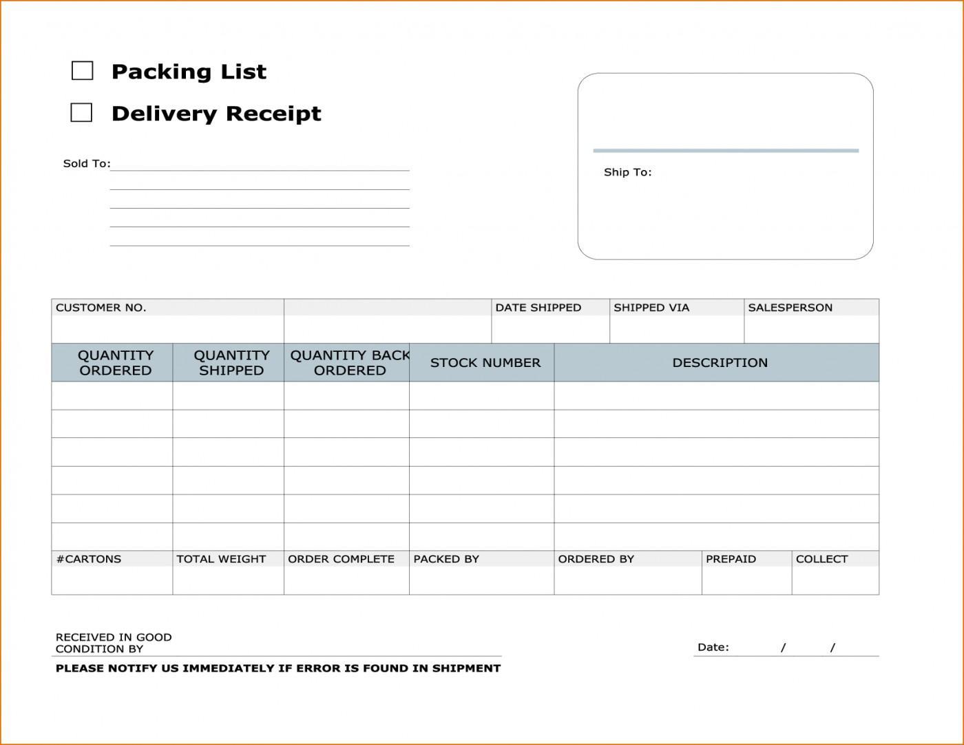 Courier Receipt Template