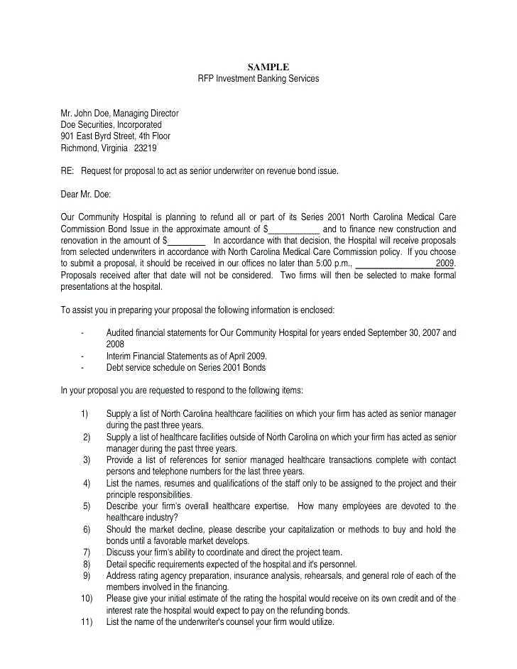 Cover Letter Template For Rfp Response