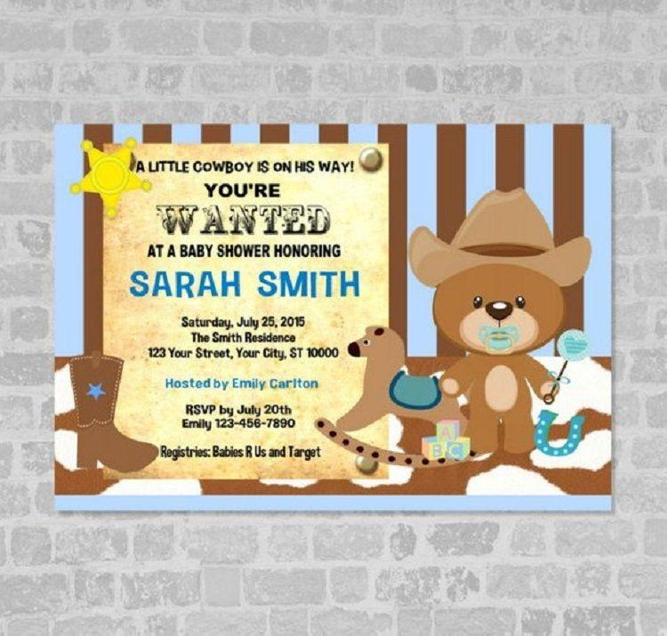 Cowboy Baby Shower Invitation Template