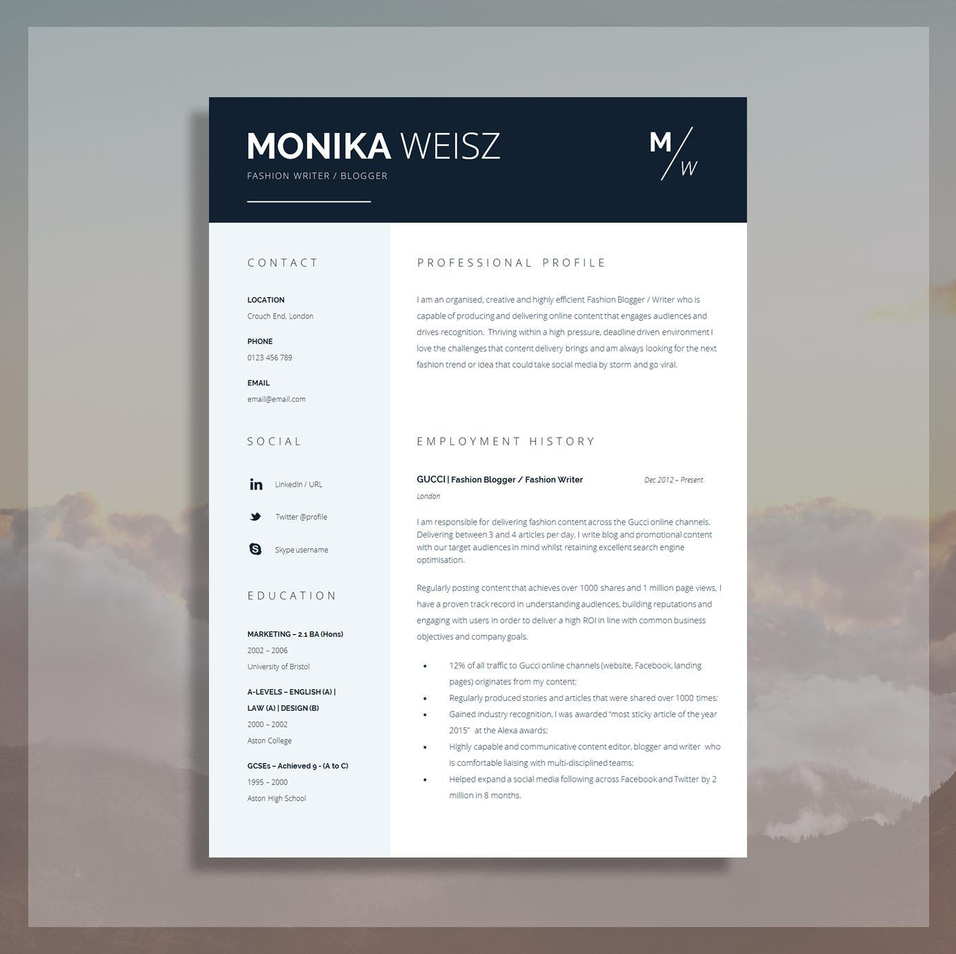 Creative Resume Templates Docx