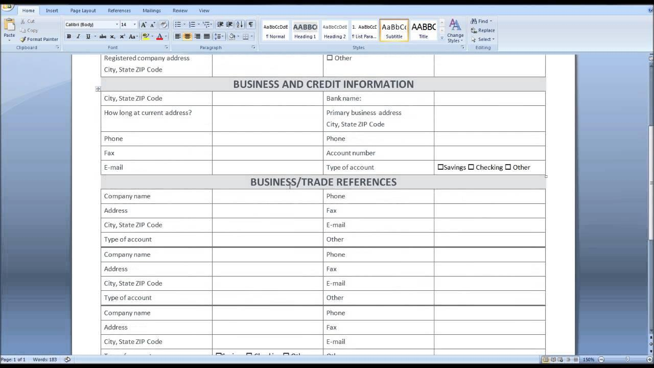 Credit Application Form Excel Template