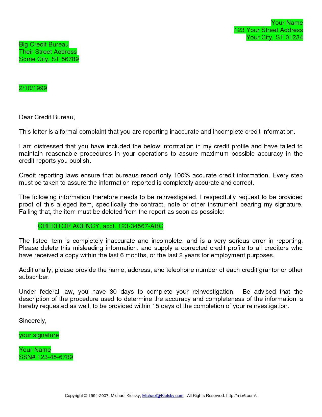 Credit Dispute Letter Templates Transunion