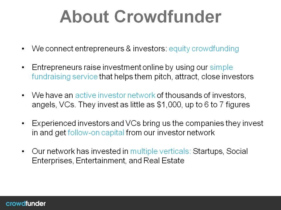 Crowdfunder Investor Pitch Deck Template